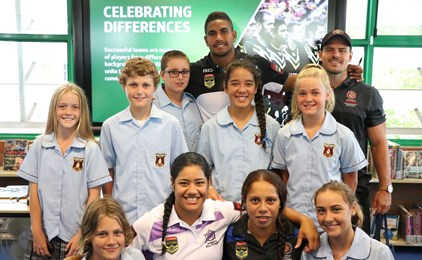 Image:NRL All Stars join St Mary's students for an afternoon of belonging