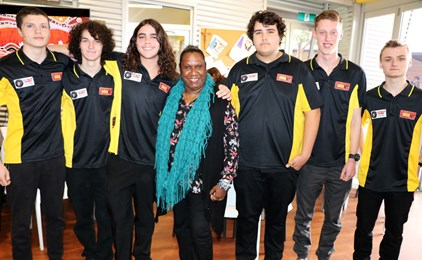 Image:Gail Mabo visits St Francis Xavier's College