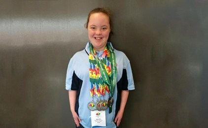 Image:Megan wins five medals at the Special Olympics