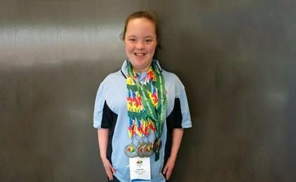 Megan wins five medals at the Special Olympics  IMAGE